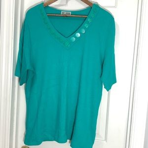 JM Collection Tops - 4/$25 Sale teal green cotton short sleeve top